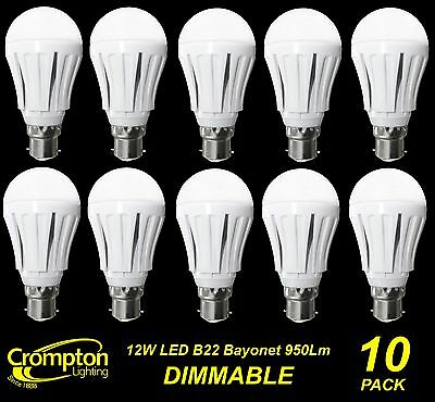 10 x DIMMABLE LED 12W Pearl Light Globes / Bulbs A60 GLS Bayonet B22 Warm White