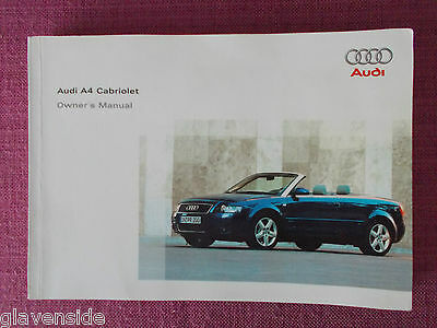 Audi A4 Cabriolet / Convertible  Handbook - Manual - Owners Guide (Au 473)