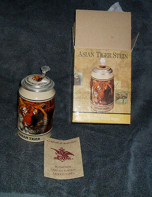 Vintage 1989 Budweiser Endangered Species ASIAN TIGER Stein In BOX & Cert CS 126