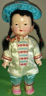 """Antique 10"""" Composition Siamese/Asian Doll"""