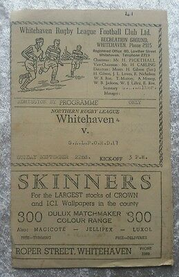 Whitehaven v Salford Sunday September 22nd Rugby League Programme NO YEAR c1960s