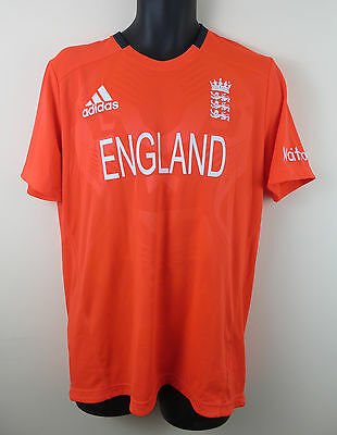 Adidas England ECB Cricket Shirt Brit Jersey One day T20 Solar Red Mens Large L
