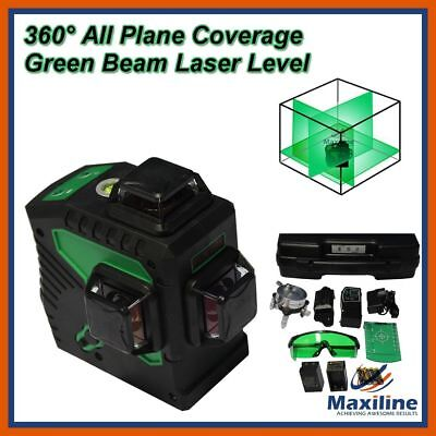 Maxiline 3 x 360° Self Leveling Green Laser Level w Receiver New