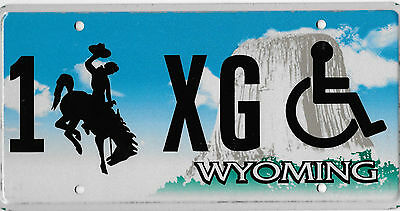 Authentic Wyoming Handicap License Plate # 1 Xg Devil's Tower Issue Mint Mint