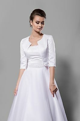 NEW Ivory/White Satin Bolero Shrug Wedding Jacket 3/4 Sleeve - Various Sizes P3