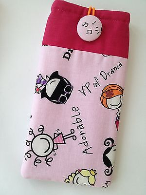 Handmade Fabric Sunglasses Glasses Case Pink Girl Drama Music notes Padded Lined