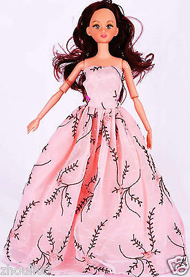 Handwork soft Princess Party Dress/Evening Clothes/Gown For Barbie Doll  1055
