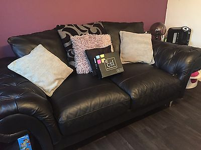 Large Black 2 Seater Leather Sofa