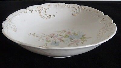 Limoge Style Serving Bowl W/ Scalloped Edge, W/ White, Pink, Green, Blue, Gold