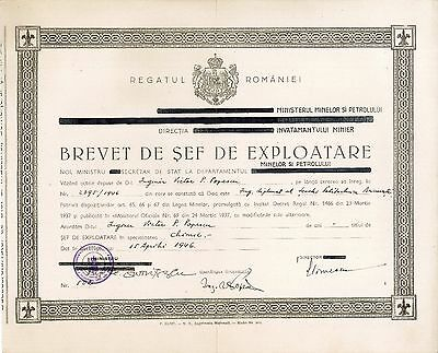Romania, 1946, Vintage Certificate, Chief of Exploitation - Ministry of Mines