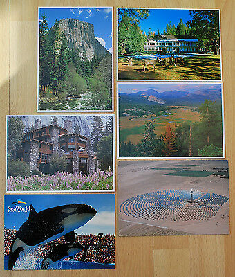 Six postcards - California, USA , including 4 of Yosemite National Park - unused