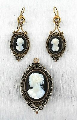 Antique-Cameo On Black Onyx-14K Old Gold- Earrings & Pendant / Brooch