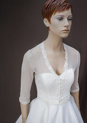 NEW White/ Ivory Tulle Bolero Shrug Wedding Jacket 3/4 Sleeve - SW1