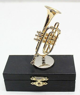 New, Miniature Trumpet In Hard Red Velvet Lined Case With Stand