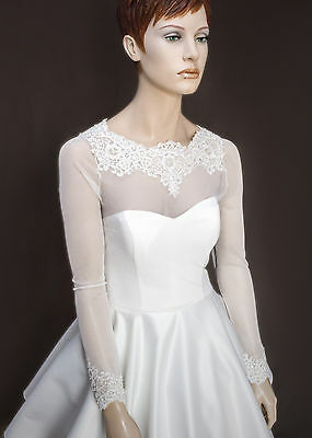 NEW White/ Ivory Tulle/Lace Bolero Shrug Wedding Jacket Long Sleeves s6-20 - K27