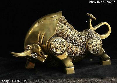 Chinese Bronze Fengshui lucky Zodiac Year Bull Oxen Money Coin Animal Statue