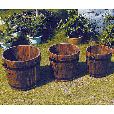 Barrel Flower SolidWood Planter x 3 Burntwood Finish Garden Pot ZLY-1032
