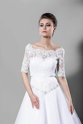 NEW White/Ivory Lace Bolero Shrug Wedding Jacket 3/4 Sleeve- Various Sizes-K14A