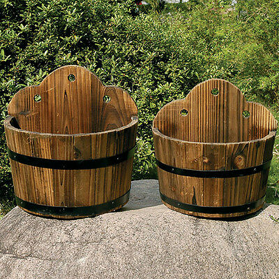 Barrel Flower Planter x 2 Solid Wood Burntwood Finish Garden Pot Decor ZLY3001