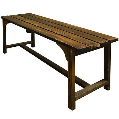 Walton Bench Burntwood Solid Wood Outdoor Home Garden Dining Seat ZLY-95508BW