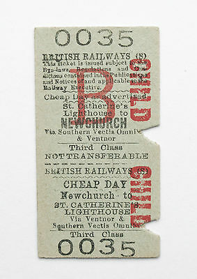 Isle of Wight Railway ticket (BR) - NEWCHURCH to St Catherine's Lighthouse