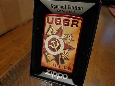 25Th Anniversary Of The Fall Of The Ussr Candy Apple Red Zippo Lighter Mint