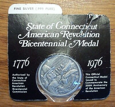USA BICENTENNIAL 999 SILVER MEDAL CT CONNECTICUT 1976 200th Anniversary