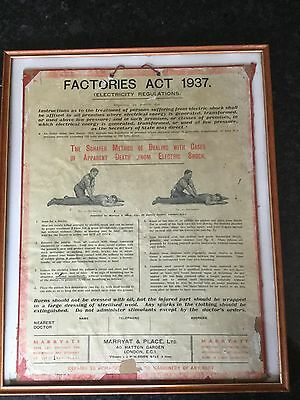 Old Factories Act 1937 Instruction Poster In Glass Frame