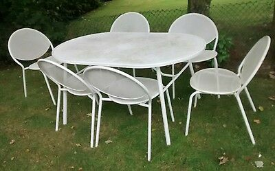 White metal garden furniture Table and 6 Chairs PRICE REDUCED