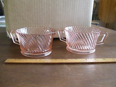Vintage Pink Depression Glass Sugar And Creamer Swirl Pattern