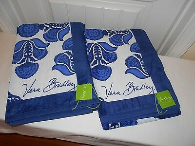 """Vera Bradley """"COBALT"""" (2)  Beach Towels  NEW WITH TAGS FREE SHIPPING"""