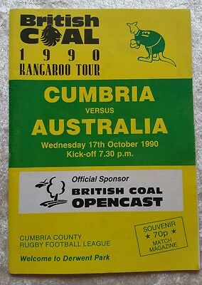 1990 - Cumbria v Australia Touring Match Programme Rugby League