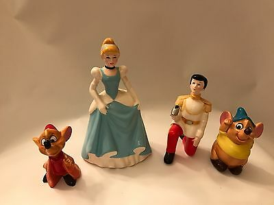 Vintage Lot Of 4 Disney Cinderella Figurines with Prince Charming, Jaq and Gus