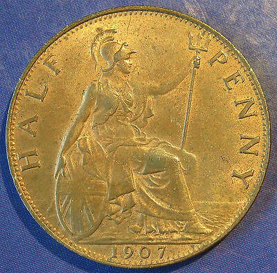 1907 ½d Edward VII bronze Halfpenny in an extremely high grade