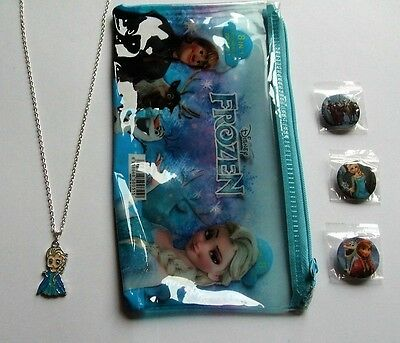 Girls Frozen Elsa / Anna Accessories Necklace Pencil Case & Badges All Brand New