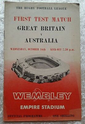 GREAT BRITAIN v AUSTRALIA  RUGBY LEAGUE PROGRAMME FIRST TEST  1963 WEMBLEY