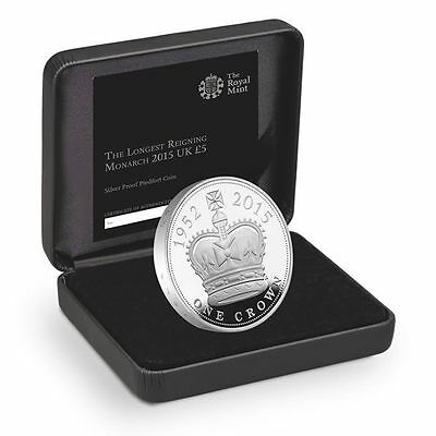 Royal Mint Longest Reigning Monarch 2015 UK £5 Silver Piedfort Coin - UKLRMPF