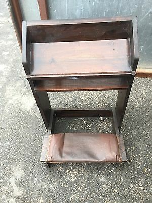 Antique Wood And Leather Kneeling Prayer Bench