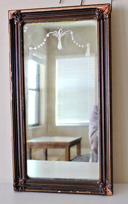 "Vintage Ornate Gold Wood Frame Mirror 20"" x 11"" Wall Hanging etched glass"