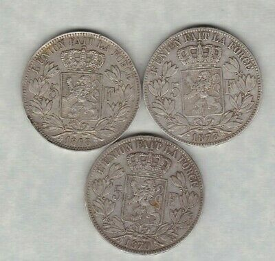 1868 Belgium Silver 5 Franc In Very Fine Condition
