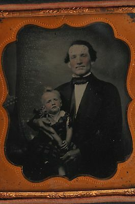 1/6 SIXTH PLATE UNUSUAL AMBROTYPE PHOTO of FATHER & DAUGHTER POST MORTEM?
