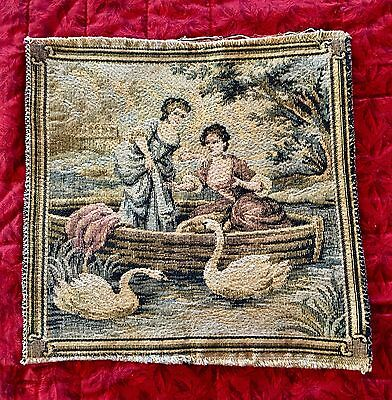 RARE 1800s Antique Vintage French Tapestry MAIDENS FEEDING SWANS IN LAKE