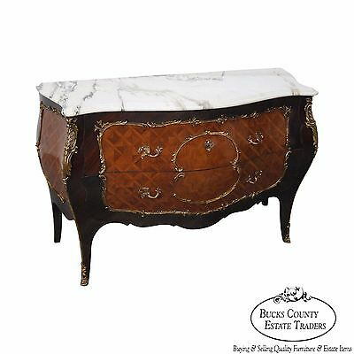 Quality French Louis XV Style Bombe Marble Top Commode w/ Brass Ormolu