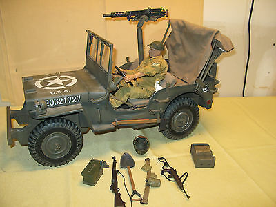 21st Century Toys Ultimate Soldier WWII US Jeep & Figure w extras 23in long