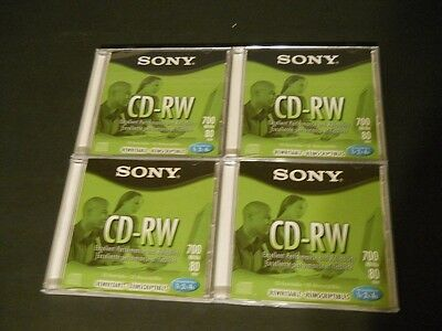 Lot of 4 Sony CD-RW Discs, New In Case, 700MB, 80 Min