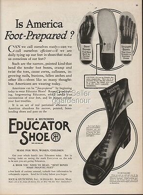 1918 Educator Shoes Vintage Lace Up Boots Rice & Hutchens Boston MA Fashion Ad