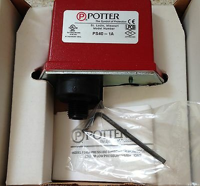 New Potter Ps40-1A Water Flow Supervisory Pressure Switch Nib 1340401
