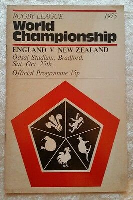 Rugby League World Championship England v New Zealand 1975 Programme