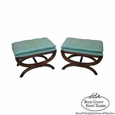Custom Quality Pair of Vintage X Base Benches Ottomans