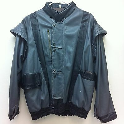 Vintage Totally 80's Men's M Black Gray Leather Jacket Vest Removable Sleeves